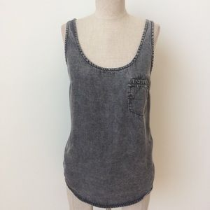 Life in Progress Acid Wash Chambray Tank
